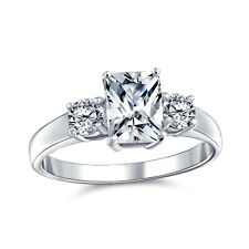 Bling Jewelry 925 Silver Emerald Cut Simulated Sapphire 3 Stone Engagement Ring