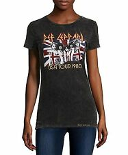 Def Leppard T-Shirt UK Flag USA Tour 1980 metal rock Girls Tee M L XL NWT