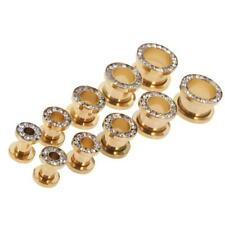 Gold 316L Stainless Steel Flare Flesh Ear Tunnels Plugs Earlets Ear Gauges