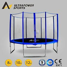 ULTRAPOWER 8 10 12FT Trampoline With Enclosure Safety Net Pad Ladder Cover UK