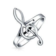 Sterling Silver Treble G Clef Music Note Ring 2mm Band