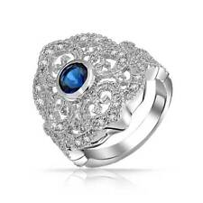 Bling Jewelry Blue Simulated Sapphire Heart Armor CZ Ring Rhodium Plated