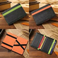 Magic Pu Leather Chic Money Clip Slim Mens Wallet ID Credit Card Holder Case