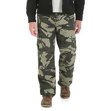 Wrangler Men's Camo Print Fleece Lined Loose Fit Cargo Pants: Many Sizes