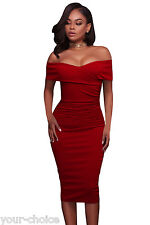 NEW RED RUCHED OFF SHOULDER EVENING PARTY DRESS SIZE 8 10 12 14 16