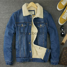 Vintage Winter Men Fur Lining Fleece Jacket Single-breasted Denim Coat Outwear