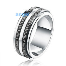 Men's Stainless Steel Cast Ring special Greek Key Design Black Silver Tone S7-13