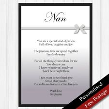 Nan Gift. Personalised Birthday Gift for Nanny. Keepsake Printed Poem 07 bow