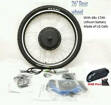 "48V 1000W ELECTRIC BIKE REAR WHEEL CONVERSION KIT 26"" Disc LCD/LED Battery"