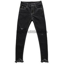 New Women's Blue Black Water Washed Ripped Ankel Fringes Denim Jean Pencil Pants