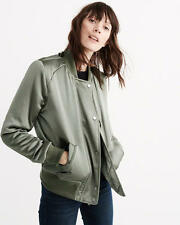 Abercrombie & Fitch Womens Satin Bomber Jacket Easy Fit Lined S M or L Green NWT