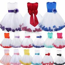 Flower Girls Bow Dress Petals Wedding Bridesmaid Pageant Princess Tulle Gowns
