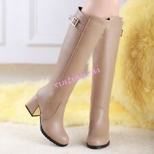 Winter Womens Chunky Heels Zipper Knee High Boots Buckle Riding Shoes Plus Size