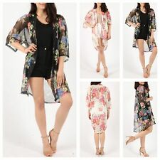 WOMENS LADIES SHEER FLORAL MESH KIMONO JACKET WATERFALL CARDIGAN LONG SHRUG TOP