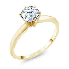 1.20 Ct Hearts And Arrows White Created Sapphire 14K Yellow Gold Solitaire Ring