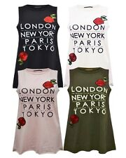 New Womens Ladies Emboidered Floral NY London Print Sleeveless T Shirt Vest Top