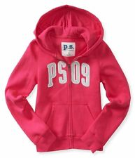 NWT Kids PS Aeropostale Girls Size 8 or 10 Zip-Front PS09 Pink Sweatshirt Hoodie
