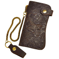 Crazy Horse Leather Mens Womens Wrist Clutch Bag Purse Wallet Card Credit Holder