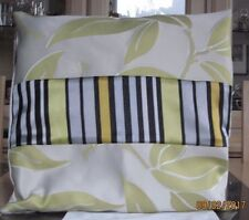 GREY AND LIME GREEN JACQUARD WITH BLACK / GREEN STRIPE DESIGN CUSHION COVER