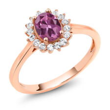 10K Rose Gold 0.94 Ct Oval Pink Tourmaline AA White Created Sapphire Ring