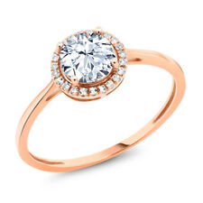 10K Rose Gold 1.38 Ct Round Hearts And Arrows White Created Sapphire Ring