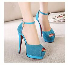 Chic Womens Ankle Straps Sandals Dress Shoes Platform Peep-toe High Heels Pumps