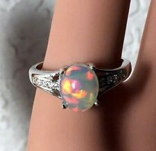 STUNNING Rainbow Fire, Natural Opal Ring, Genuine Welo Opal, silver opal ring