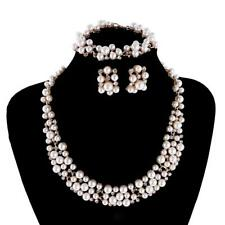Gold Plated Faux Pearl Crystal Collar Necklace Earrings Set With Bracelet
