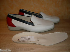 Semler Slippers NEW Size 42 / 42,5 = 8 / 8,5 H in white / navy / red & Leather