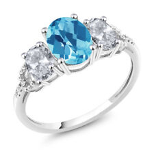 Diamond Accent 10k White Gold 2.35 Ct Oval Swiss Blue Topaz White Topaz Ring