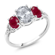 Diamond Accent 10k White Gold 2.55 Ct Oval White Topaz Red Ruby Engagement Ring
