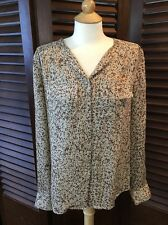 Classiques Entier Silk Blouse Abstract Animal Print Button Front Career Size M