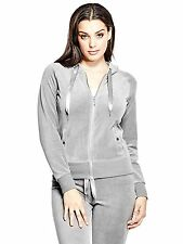Guess Womens Stretch Velour Hoodie Jacket Sweater Jumper S or M Grey NWT