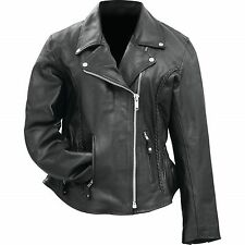 Ladies' Motorcycle Jacket  Solid Genuine Buffalo Leather Rocky Mountain Hides™