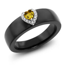 0.39 Ct Heart Shape Yellow Citrine 925 Sterling Silver Ring