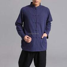 YANG Chinese Men Long Sleeve Kung Fu Cotton Linen Tops Casual Blouse Shirts Size