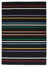 NEW Oslo Stripe Flat Weave Wool Rug Multi Black