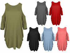 Catch One Womens Sexy Cold Shoulder Sleeve Top Ladies Long Dress T Shirt