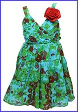 Ex  NEXT Next Girls Floral Green & Blue  Dress 1 2 3 4 5 6 7  Years NEW
