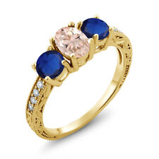 1.97 Ct Peach Morganite & Simulated Sapphire 18K Yellow Gold Plated Silver Ring