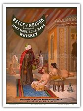 Belle of Nelson Whiskey Turkish Harem Vintage Advertising Art Poster Print