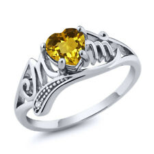0.71 Ct Heart Shape Yellow Citrine 925 Sterling Silver MOM Ring