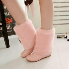 Ladies New UK Winter Warm Mid Calf Snow Boots Round Toe Furry Shoes Booties Size