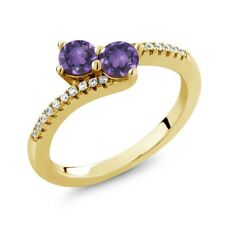 0.72 Ct Round Purple Amethyst Two Stone 18K Yellow Gold Plated Silver Ring