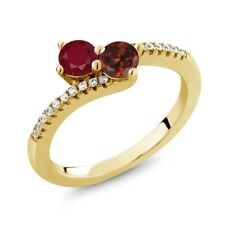 0.91 Ct Round Red Ruby Red Garnet Two Stone 18K Yellow Gold Plated Silver Ring