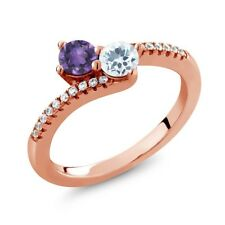 0.70 Ct Amethyst Sky Blue Aquamarine Two Stone 18K Rose Gold Plated Silver Ring