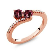 0.98 Ct Round Red Rhodolite Garnet Two Stone 18K Rose Gold Plated Silver Ring