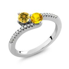 0.86 Ct Round Yellow Citrine Yellow Sapphire Two Stone 925 Sterling Silver Ring