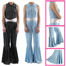 60 70s 80s Fancy Dress Jumpsuit Flares Costume Outfit Retro Disco Hen Stag Night