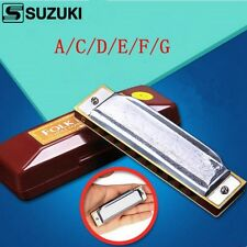Suzuki 10 hole Blues Harmonica A/C/D/E/F/G key Silver Color Diatonic Harp Master